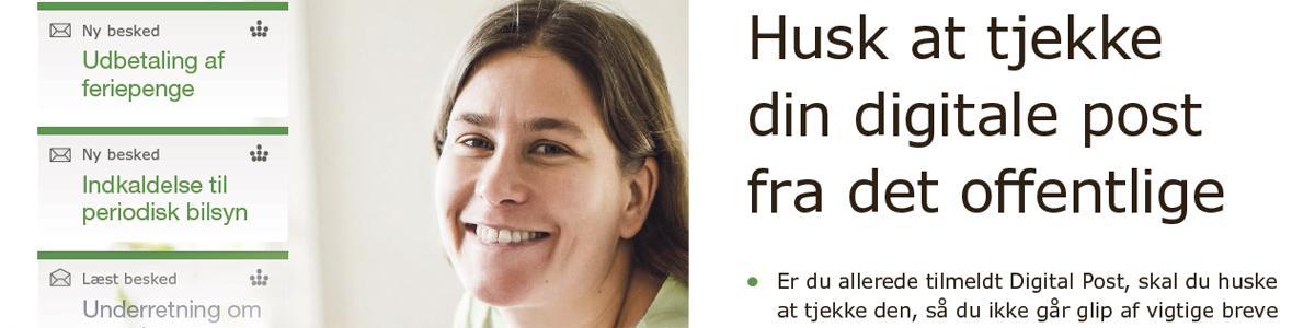 Foto af kvinde, der opfordrer til at tjekke digital post fra det offentlige