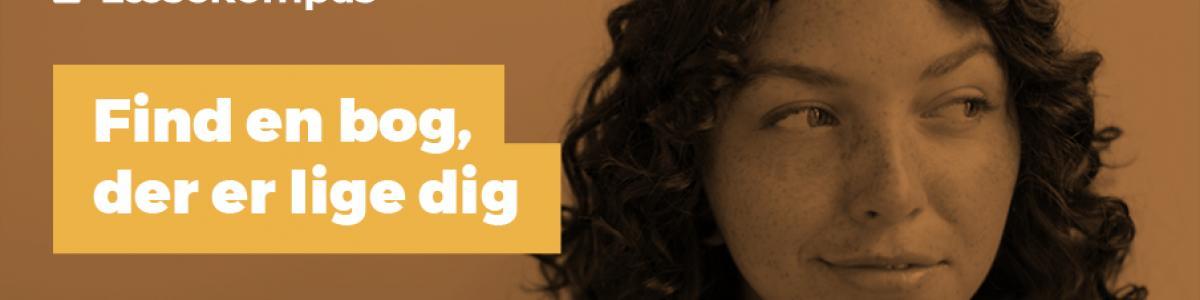 Logo for Læsekompasset med en kvinde til højre i billedet