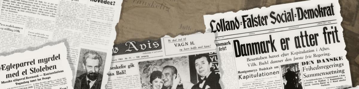 Forskellige gamle aviser på et bord