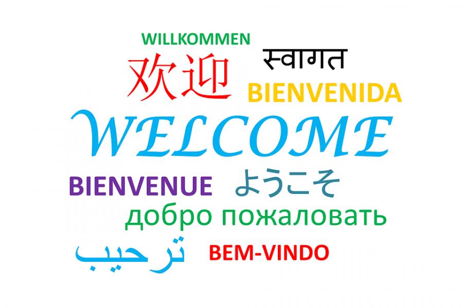 Der står velkommen på mange forskellige sprog