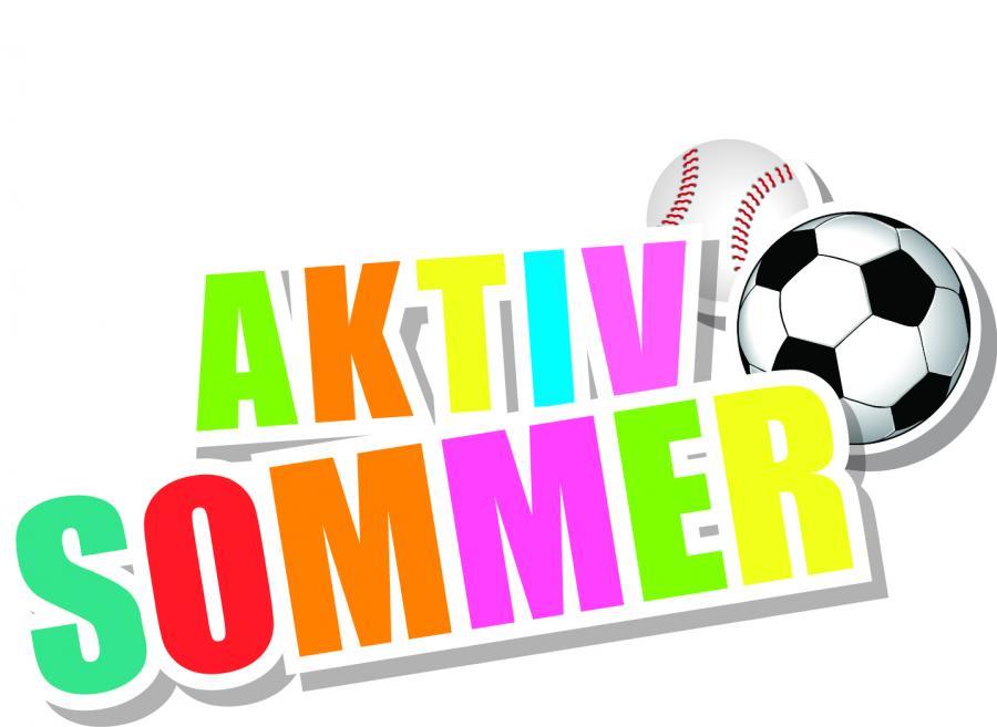 En fodbold og baseball  og teksten Aktiv Sommer i glade farver